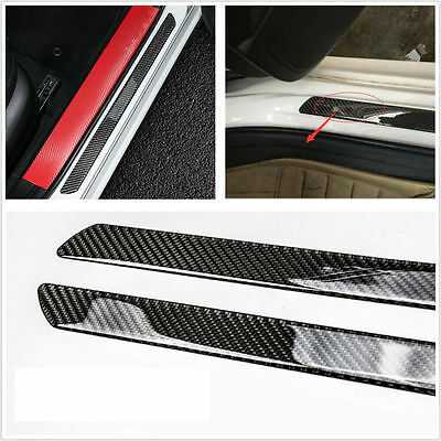 Universal 2pcs Car Door Sill Carbon Fiber Scuff Plate Cover Panel Step Protector