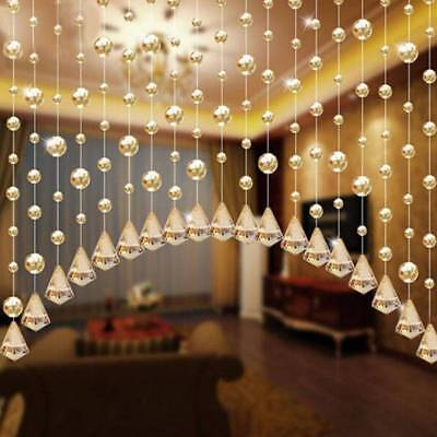 Glass Crystal Clear Beads Curtain Partition Screen Window Drapes 1 Meter Z