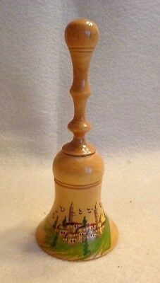 VINTAGE WOODEN BELL, OLIVE WOOD, HAND CRAFTED IN JERUSALEM, 4.5 inches TALL