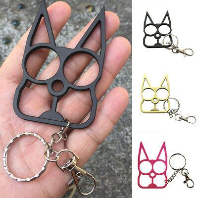 FASHION Cat Key Chain Personal self defense Metal Keyrings Gift 4 Color