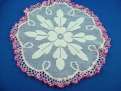 Vintage  Bright Pink  Beaded Jug Cover With Pink Crocheted Edge