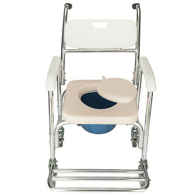 Commode Wheelchair Medical Bedside Toilet and Shower Chair w/ Padded Seat