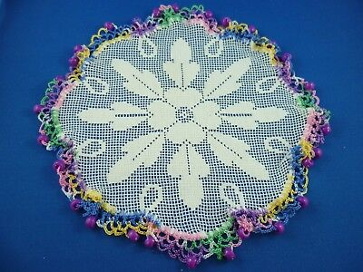 Vintage  Bright Purple Beaded Jug Cover With Multi-Coloured Crocheted Edge