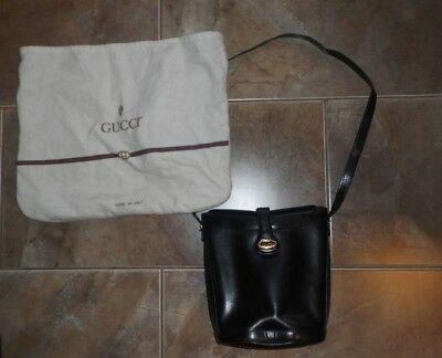 193c56b4969 GUCCI Vintage Solid Leather Black With Gucci Logo Square Shoulder Bag dust  bag