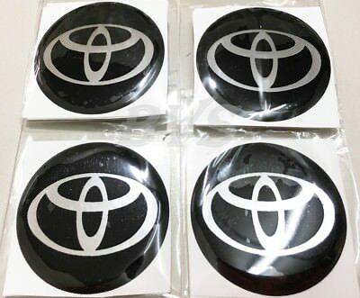 4 Pcs 45 mm BLACK RESIN WHEEL CENTER CAP LOGO BADGE STICKER Use For Toyota