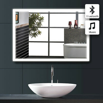 Modern Large Bevelled  Bathroom Mirror With Bluetooth Speaker /Sensor Switch 612