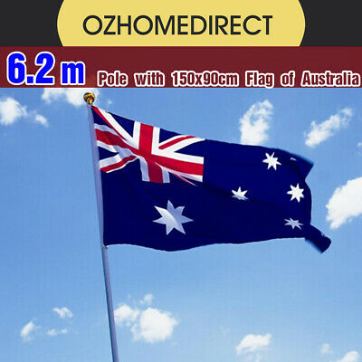 6.2M Aluminium Australian Aussie Flag Pole Full Set for parade Game