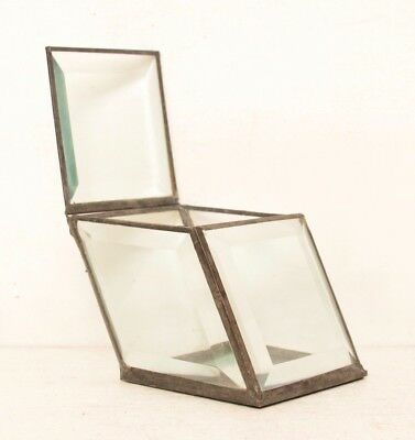 Beveled Glass Display Box Trapezoid Geometric Small Terrarium Diamond MCM Mirror