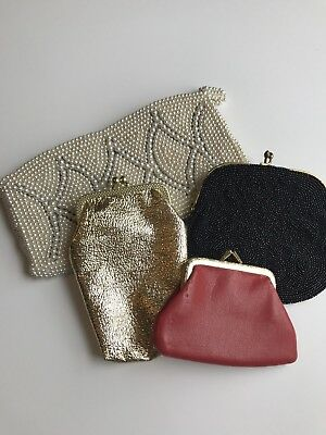 Vintage Ladies Beaded Coin Purse Lot Retro Gold Wallet Beads