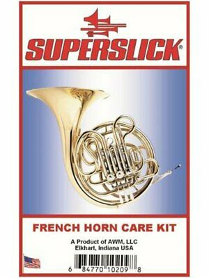 Superslick French Horn Care Kit Cleaning Brush Polish Cloth Key Rotor Oil Snake