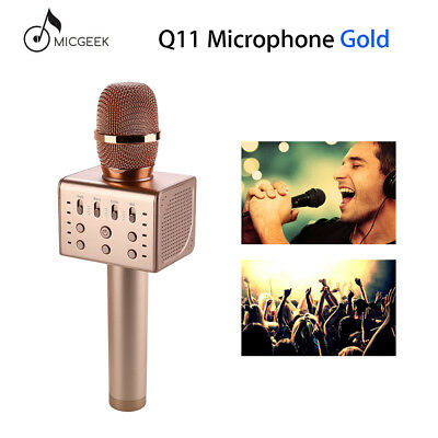 Micgeek Q11 Microphone Karaoke Portable Speaker Gold Stereo For Family KTV Party