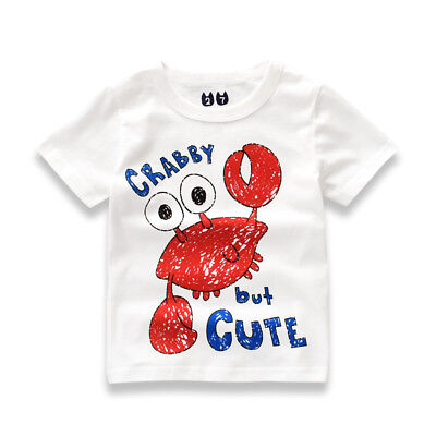 Summer Baby Boy Girl Clothes T-shirt Child Toddler Short Sleeve Round Neck Tops