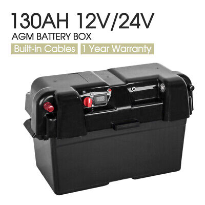 Battery Box AGM Deep Cycle 130AH Dual System 12V 100AH Dual USB Ports Charger