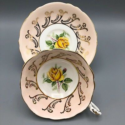 Paragon Tea Cup and Saucer Pink with Gold Gilt Floral Centre Black Back Stamp