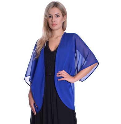 Summer Chiffon Cardigan Shrug Cape Formal Evening Party Cover Up Royal Blue