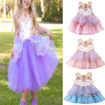 Girl Unicorn Mesh Tutu Dress Hair Hoop Fairy Princess Wedding Party Kids Costume