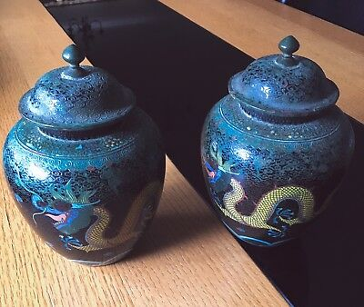 Pair Of Antique Chinese Cloisonne Ginger Jar  - Clearance Price !