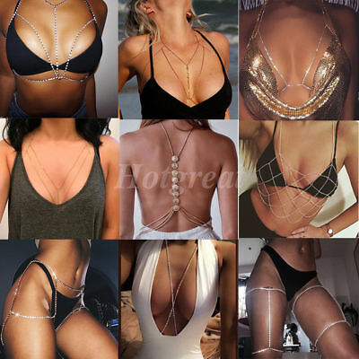 Body Harness Bra Black Elastic Gold Body Chain Stylish Bralette Strappy