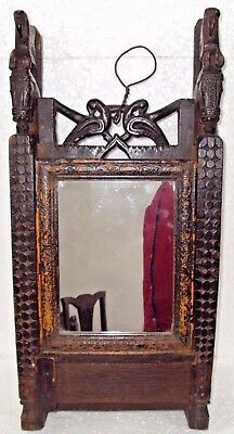 Old Indian Wooden Hand Crafted Dressing Mirror Frame With Drawer Hours Craving#6
