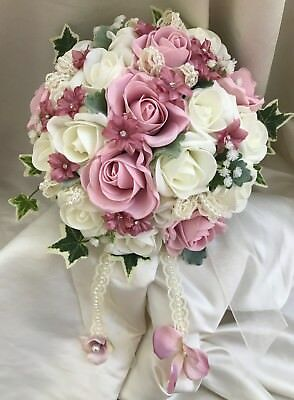 Brides Wedding Flowers. Vintage pink and ivory posy with lace, pearls & diamante