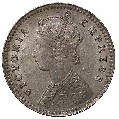 British India Queen Victoria 1897-C Silver 2 Annas KM#488
