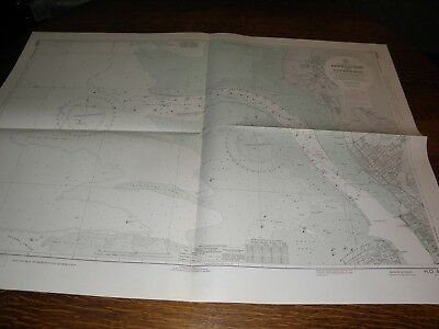 Antique Vintage US Navy Nautical Chart , APPROACHES TO  LIVERPOOL,ENGLAND
