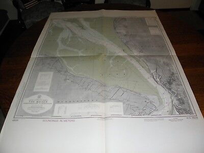 Antique Vintage US Navy Nautical Chart , FEDERAL REPUBLIC OF GERMANY,THE WESER