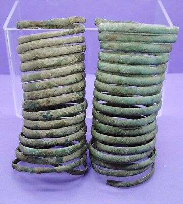 Pair of amazing Late Bronze Age spiral bracelets 1000 BC
