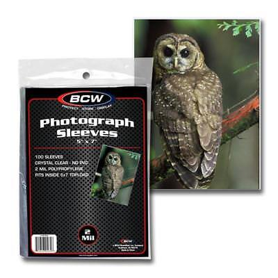 PACK OF 100 BCW 5 x 7 PHOTO 2 MIL SOFT POLY SLEEVES PROTECTORS 5x7