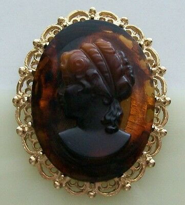 Amber Color Art Glass Vintage Cameo Profile Filigree Goldtone Brooch Pin/Pendant