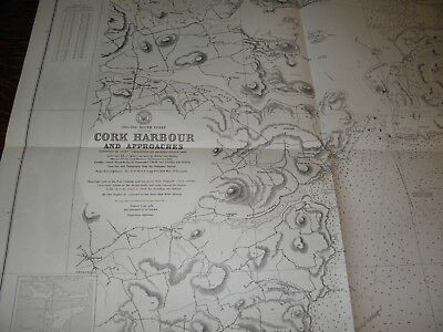 Vintage US Navy Nautical Chart ,IRELAND SOUTH COAST,CORK HARBOR AND APPROACHES