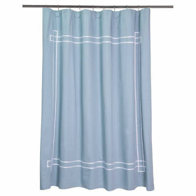 Fieldcrest Shower Curtain Aqua White Ribbon Border Stripe 72X72