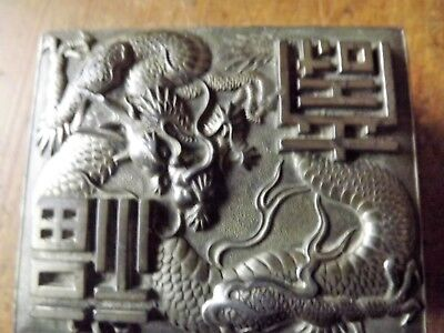 Antique Japanese Three Toe'd Fire Dragon Repousse Metal Box