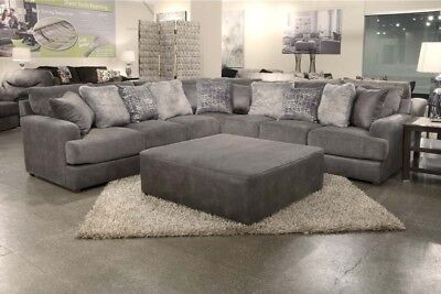 Jackson Furniture Cortland 3 Piece Sectional Sofa With Ottoman In Graphite Ste