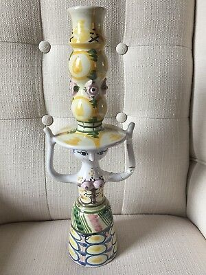 Bjorn Wiinblad Whimsical 15 in Tall Candle Holder Table Light Art Pottery RARE