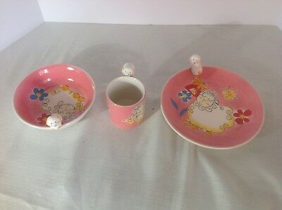 Willie Woolie the lamb from the Essex collection: childs plate, bowl, and cup