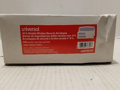 UNIVERSAL Double Window Check Envelope #8 5/8 x 8 5/8 White 500/Box 36300