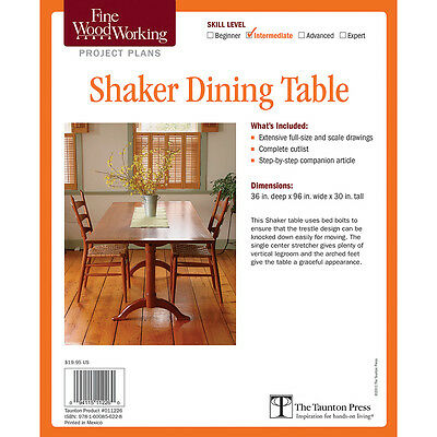 Shaker Dining Table, Printed Plan