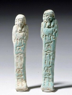 Ancient Egyptian - 2 Egyptian Shabtis Faience 1550 to 1070 BCE