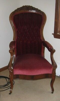 Victorian Chair, Red Velvet, family heirloom, lovingly used and cared for