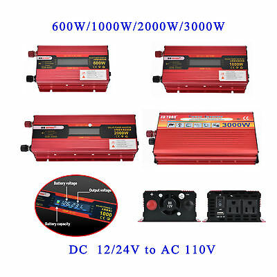 2000W 3000W Car LED Power Inverter Converter DC 12V To AC 110V/220V USB Charger