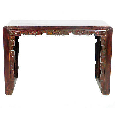"Antique Chinese 50"" Wide Scroll Foot Altar table Desk Dark lacquer w Carvings"