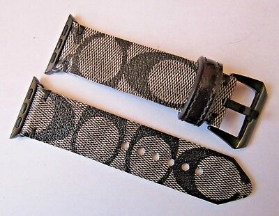 Coach Upcycled Handmade Black/gray Signature Strap/band For 38 Mm Apple Watch