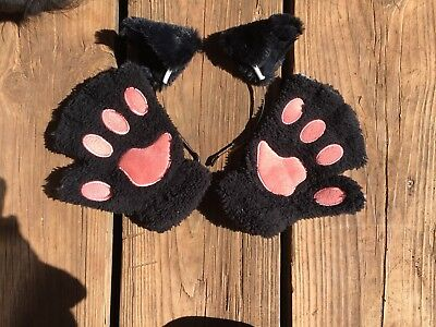 Cute Fluffy Black Kitty Cat Faux Fur Ears and Paw Gloves