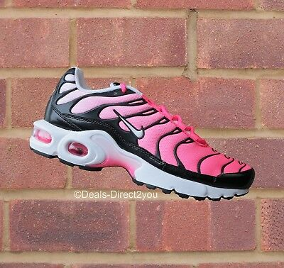 the latest d3c9f e3353 NIKE AIR MAX Plus TN Tuned 1 (GS) Black/White/Racer Pink Junior Size 5 6 UK  NEW