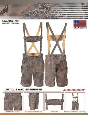 Men's Bavarian LEDERHOSEN Antique Wax Finish with Embossed Embroidery suspenders