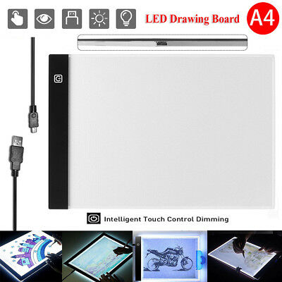 Dimmable USB A4 LED Light Box Tracing Board Art Stencil Drawing Pattern Copy Pad