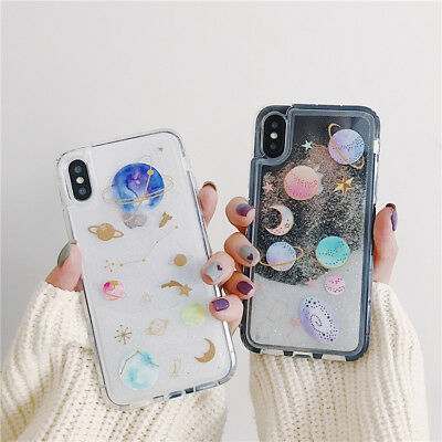 Planet Dynamic Liquid Glitter Quicksand Phone Case Cover For iPhone 6/7/8 plus X