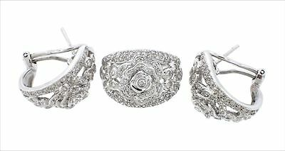 18K White Gold Jewelry SET 4.50CTW Natural Diamonds Floral Ring Flower Earrings