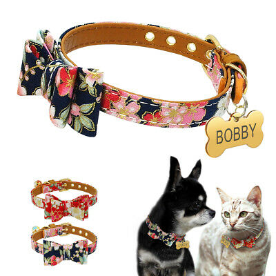 Bowknot Small Dog Puppy Pet Cat Soft Padded Collar & Personalized Engraved Tag